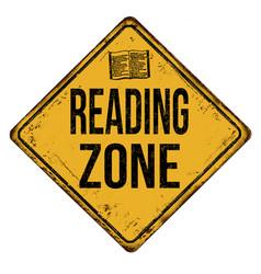 Reading zone vintage rusty metal sign vector