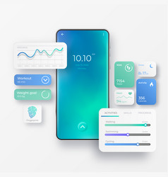 Realistic mobile phone with fitness app interface vector