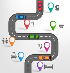 Road infographic travel background with pointers vector