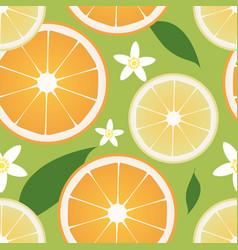 seamless pattern lemon and orange slices and vector image