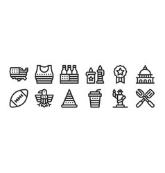 Set 12 thin outline icons such as barbecue vector