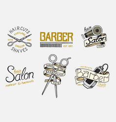 set of barbershop badge and label logo vector image