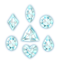 Set of diamonds isolated on white vector image