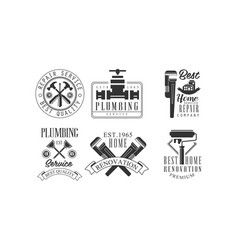 Set of monochrome emblems for plumbing and vector