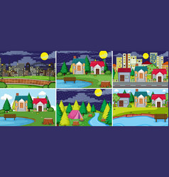 set of rural and urban landcape vector image