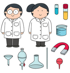 Set of scientist and laboratory equipment vector