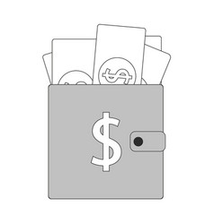 shopping wallet simple icon dollar sign usd vector image