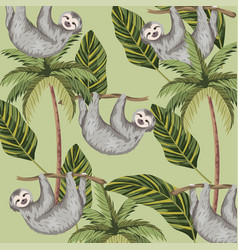 Sloth with tropical palm and leaves background vector