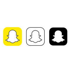social media icon set for snapchat in different vector image