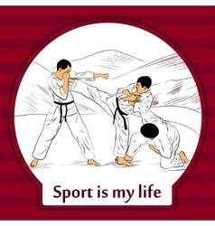 Sports life card Karate fighters vector image