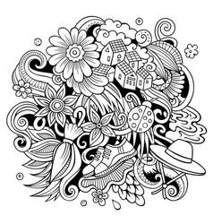 Spring hand drawn cartoon doodle vector