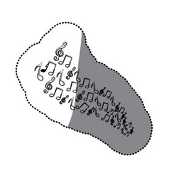 sticker silhouette set musical notes vector image
