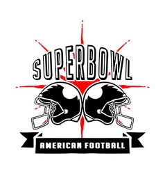 Superbowl And Football Badge Hand Draw vector image