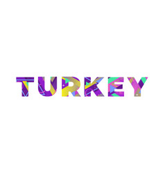 Turkey concept retro colorful word art vector