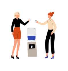 two business women talking and drinking water at vector image