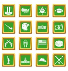 Usa icons set green vector