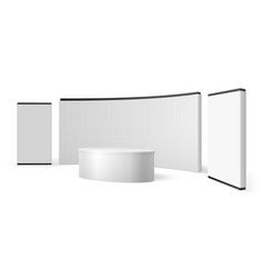 White exhibition stand blank trade show booth vector