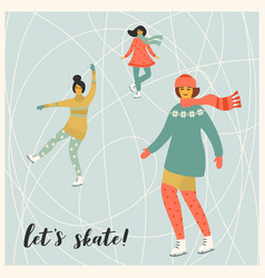 women skate trendy retro vector image