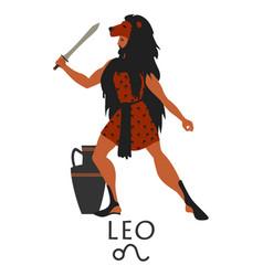 zodiac in style ancient greece leo greek vector image