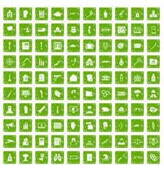 100 violation icons set grunge green vector image