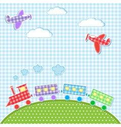 Aircrafts and train vector image