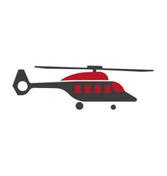 cartoon helicopter or rotor plane icon in flat vector image vector image