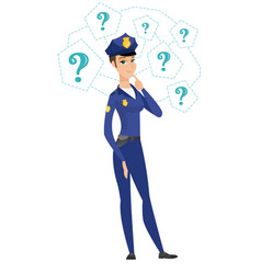 caucasian police woman thinking vector image