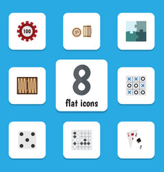 flat icon entertainment set of gomoku ace dice vector image vector image