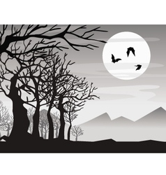 halloween bat with tree vector image