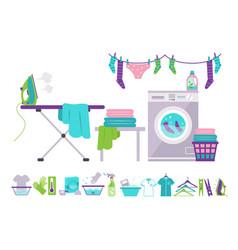 laundry room washing machine basket iron vector image