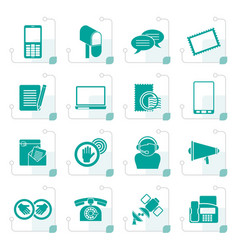 stylized contact and communication icons vector image
