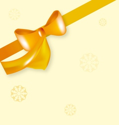 yellow bow ribbon with snowflake vector image vector image