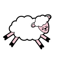 cute sheep animal with wool design vector image