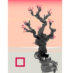 Greeting card template in Japanese style vector image