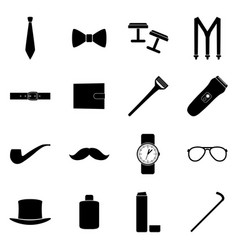 set of black icons of man accessories vector image vector image
