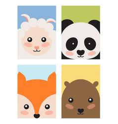 sheep and panda fox and bear vector image vector image