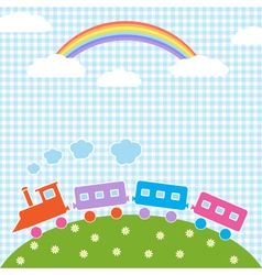 Train and rainbow vector image