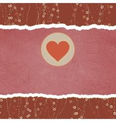 Vintage Valentine Heart card vector image