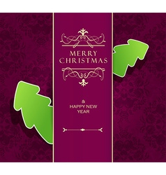 Christmas background with purple ribbon and green vector image vector image
