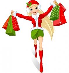 Christmas shopping vector image vector image
