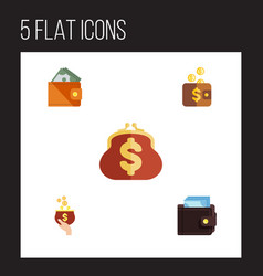 flat icon purse set of payment billfold wallet vector image