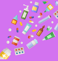 medicines flying from pill bottle vector image