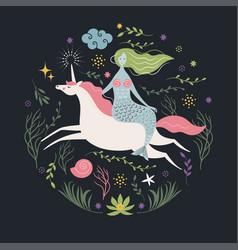 mermaid and unicorn vector image vector image
