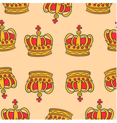 pattern red crown style collection vector image vector image