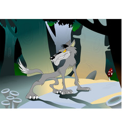 wolf in the woods vector image vector image