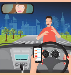 woman using smartphone while driving the car vector image vector image