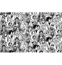 Young people seamless pattern group monochrome vector image vector image