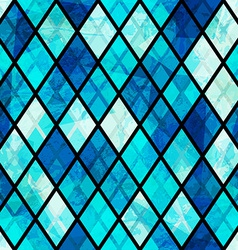 blue mosaic seamless pattern with grunge effect vector image
