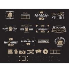 Camera logo Vintage Photography Badges Labels vector image