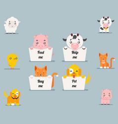 cute little beggar animals help cat dog pig cow vector image vector image
